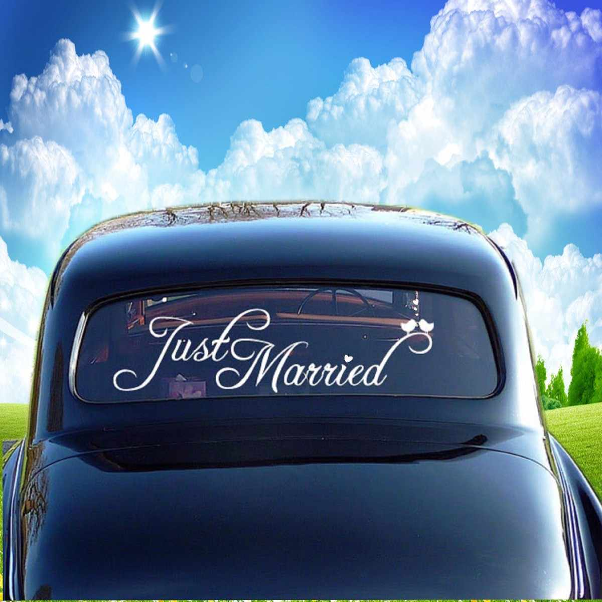 Just Married Wedding Car Finestra Banner PVC Impermeabile Autoadesivo Della Decalcomania Del Vinile Personalizzato Decorazione Auto Decorazione Forniture di Nozze