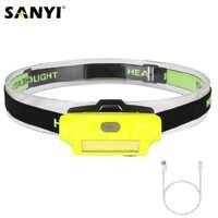 Sanyi-faro delantero LED COB, luz Beam portátil de 2 modos, linterna frontal, linterna de carga USB, iluminación exterior con batería