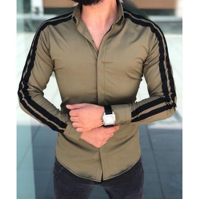 Plain Formal Business Long Sleeve Slim Fit Shirt 5