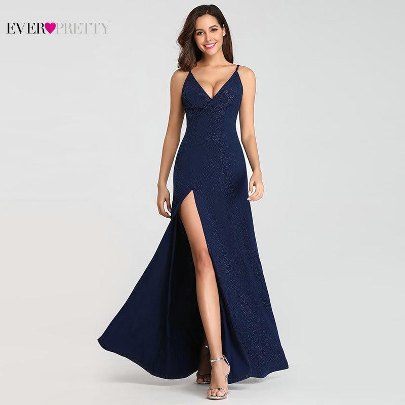 1986e8da1df Сексуальные темно-синие вечерние платья Ever Pretty EP07845 сексуальные с  v-образным вырезом сверкающие ножные разрезы длинное официальное вечерне.