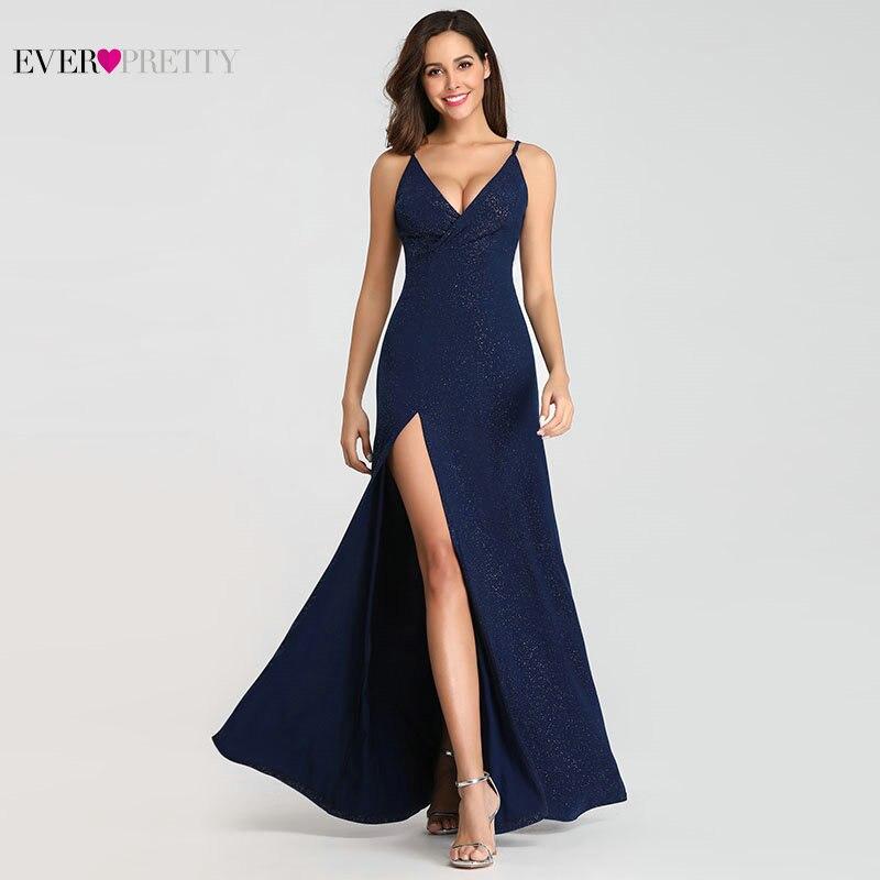 Сексуальные темно-синие вечерние платья Ever Pretty EP07845 сексуальные v-образным вырезом блестящие ноги разрезы длинное официальное вечернее пла...