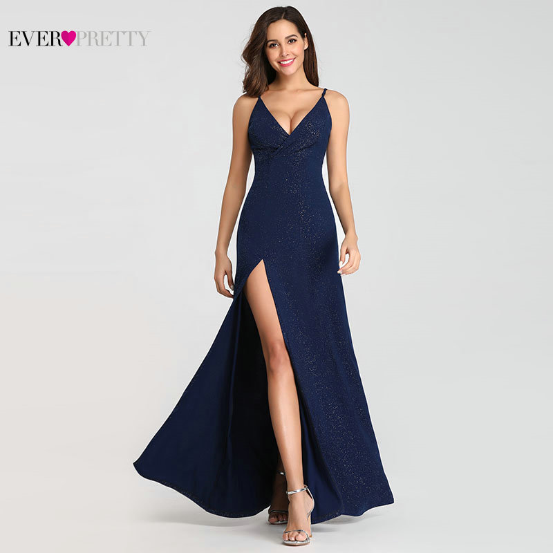 Sexy Navy Blue Evening Dresses Ever Pretty EP07845 Sexy V neck Sparkle Leg Slit Long Formal Party Gowns Abendkleider 2019 in Evening Dresses from Weddings Events