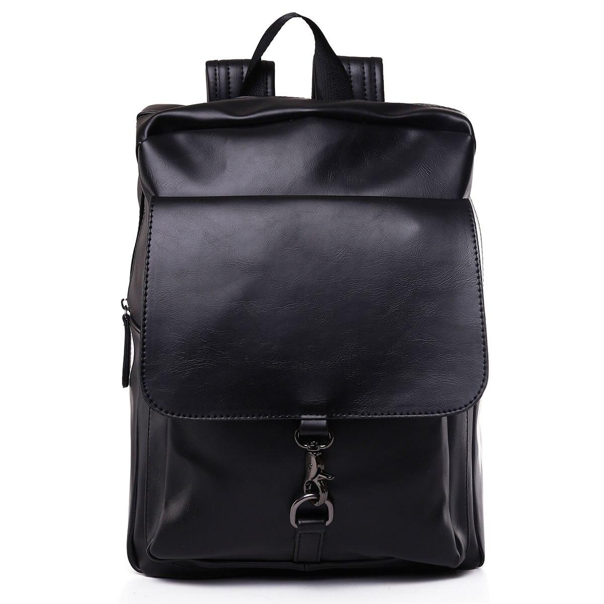 Fashion Men Women PU Leather Backpack School Bag Casual Travel Bookbag Black Youth Top Handle Backpack Back For School Mochila
