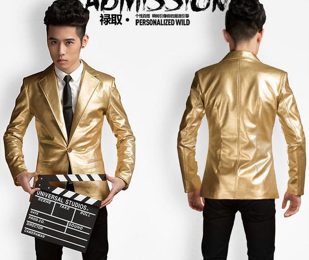 33828ec806 US $65.57 17% OFF|S 5XL ! 2019 New Men's clothing fashion sliver and gold  leather suit jacket coat formal dress stage singer costumes-in Faux Leather  ...