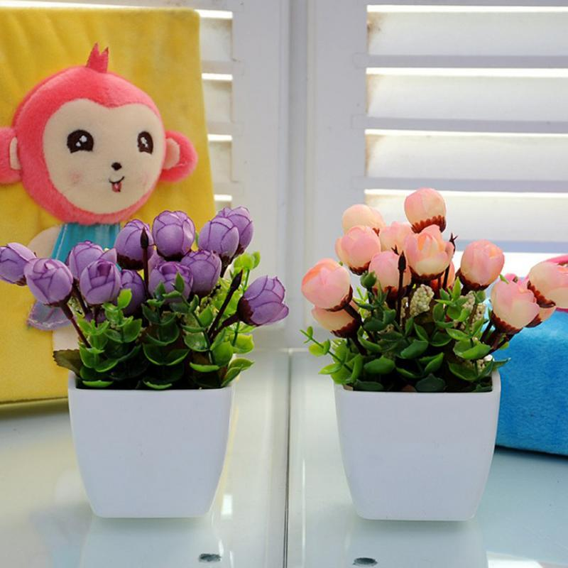 Artificial Flowers Home Decoration Plastic Flower Tea Table Dining Table Small Bonsai Simulation Flower Set Home Ornaments Artificial Decorations Home & Garden
