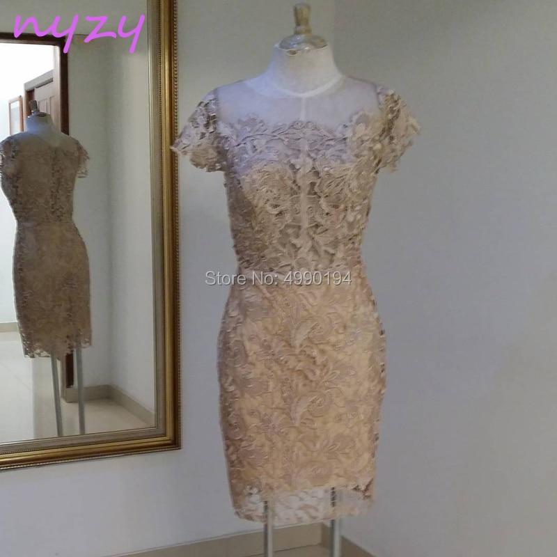 NYZY C58 Robe De Cocktail Courte Knee Length Short Sleeve Champagne Lace Party Dress Evening Vestidos De Festa Curto 2019