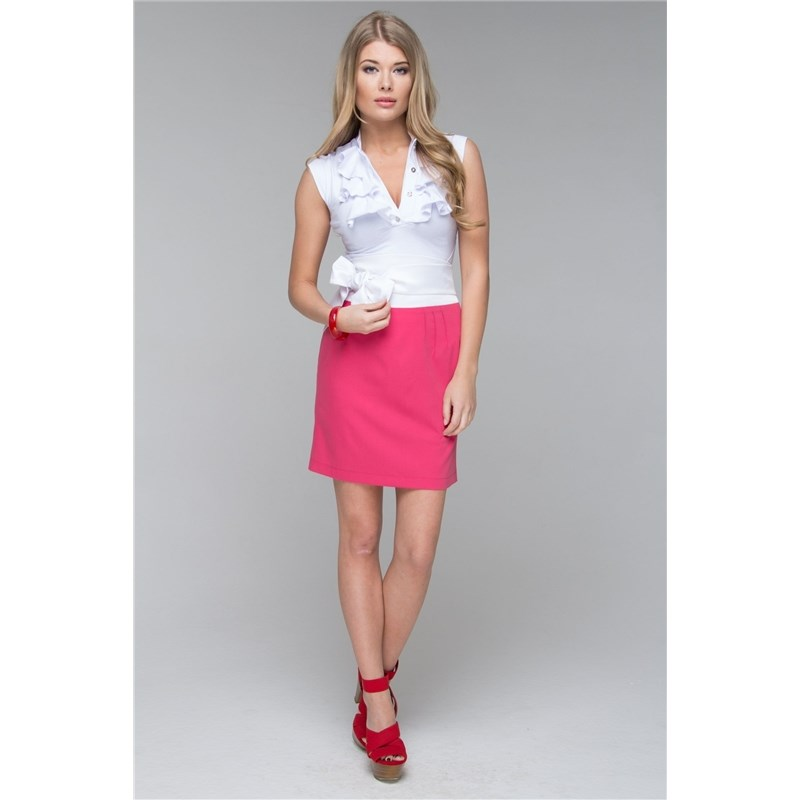 Skirt with slit back and wide belt bow. knot front zip up back skirt