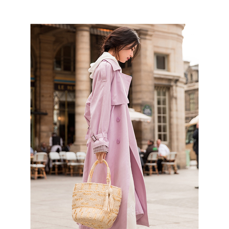 Cinturón Primavera Mujeres De Turndown 2019 Nueva purple Definida Inman Collar Coreano Llegada Suelto Abrigo Khaki Cintura Casual Incluyen Largo f8Awq5xxB