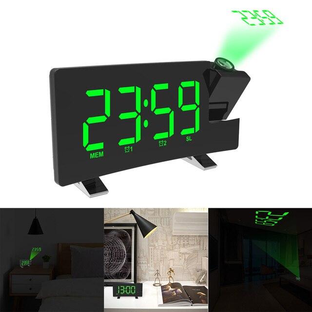Dijital radyo çalar saat projeksiyon erteleme zamanlayıcı LED ekran USB şarj kablosu 180 derece masa duvar FM radyo saat