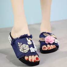 Denim Slippers Handmade Slippers Female Summer Sandals Fashion Non-slip Casual Beach Shoes Flat Slippers Women Shoes