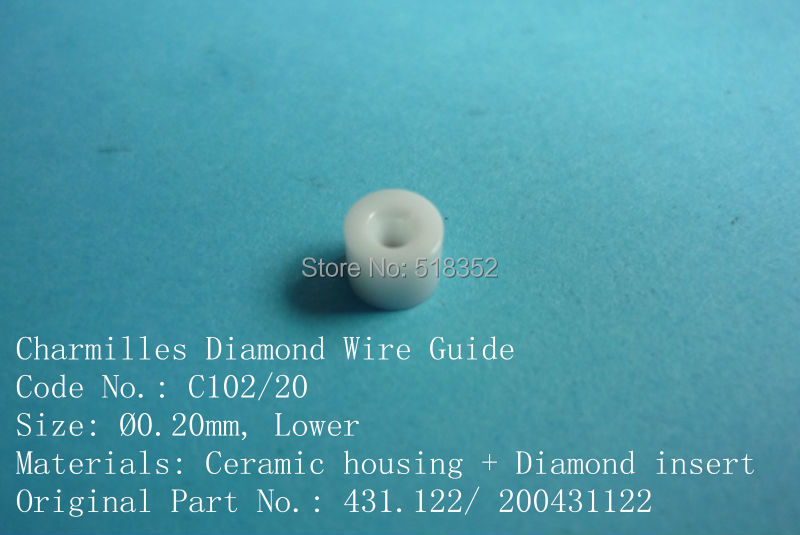 Charmilles 431.122/ 200431122 C102 D =0.20mm Diamond Wire Guide with Ceramic Housing for WEDM-LS Machine PartsCharmilles 431.122/ 200431122 C102 D =0.20mm Diamond Wire Guide with Ceramic Housing for WEDM-LS Machine Parts