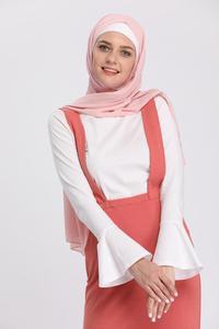Image 2 - Muslim Women Tops Undershirt Abaya Long Sleeve Tight T Shirt Blouse Horn Sleeve O neck Casual Islamic Clothing Turkey Arab New