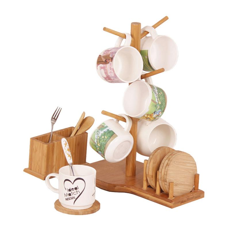 Cup Holder Bamboo Wooden Drain Stand Combination Cup Storage Rack Coffee Cup Organizer With 6 Coasters Kitchen Office Home Craft