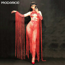 37c87c0310a New Sexy Long Tassel Women Glisten Crystals Red Jumpsuit Outfit Nightclub  Singer Costume Stage Dance DS