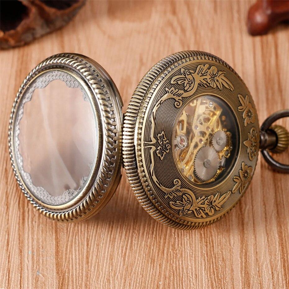 Купить с кэшбэком Transparent Mechanical Pocket Watch Retro Watch Men Women Hand Winding Roman Numerals Skeleton Clock with Steampunk Chain reloj