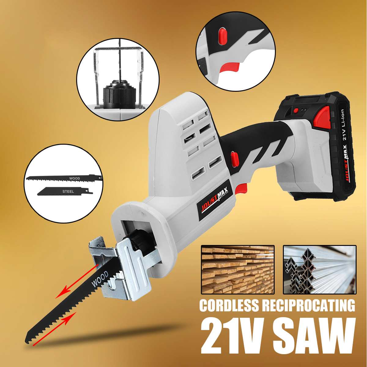 Portable 21V 1500mAh Li Ion Battery Cordless Reciprocating Saw Electric Saber Saw Blade for Wood Metal Chain Saws Cut Power Tool