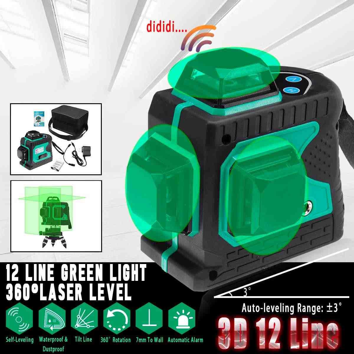 3D 12 линия зеленый свет лазерный уровень Авто самонивелирующийся 360 градусов Поворотный мера крест износостойкий противоударный водостойкий