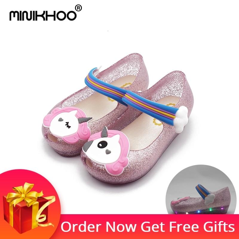 Mini Melissa LED Flash Unicorn 2018 New Summer Melissa Sandals Shoes Winter Jelly  Shoe Girl Non-slip Melissa Kids Sandal Toddler 506ee75ec