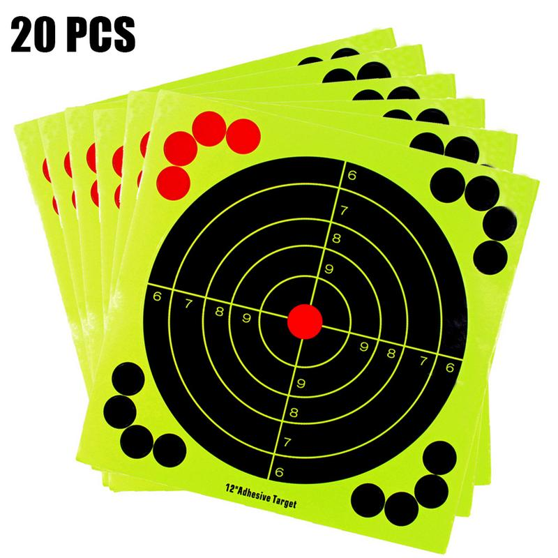 20 Pcs  Hunting Training Target Paper Fluorescence Sticker Shooting Gun Target Paper High Quality Indoor Target Paper