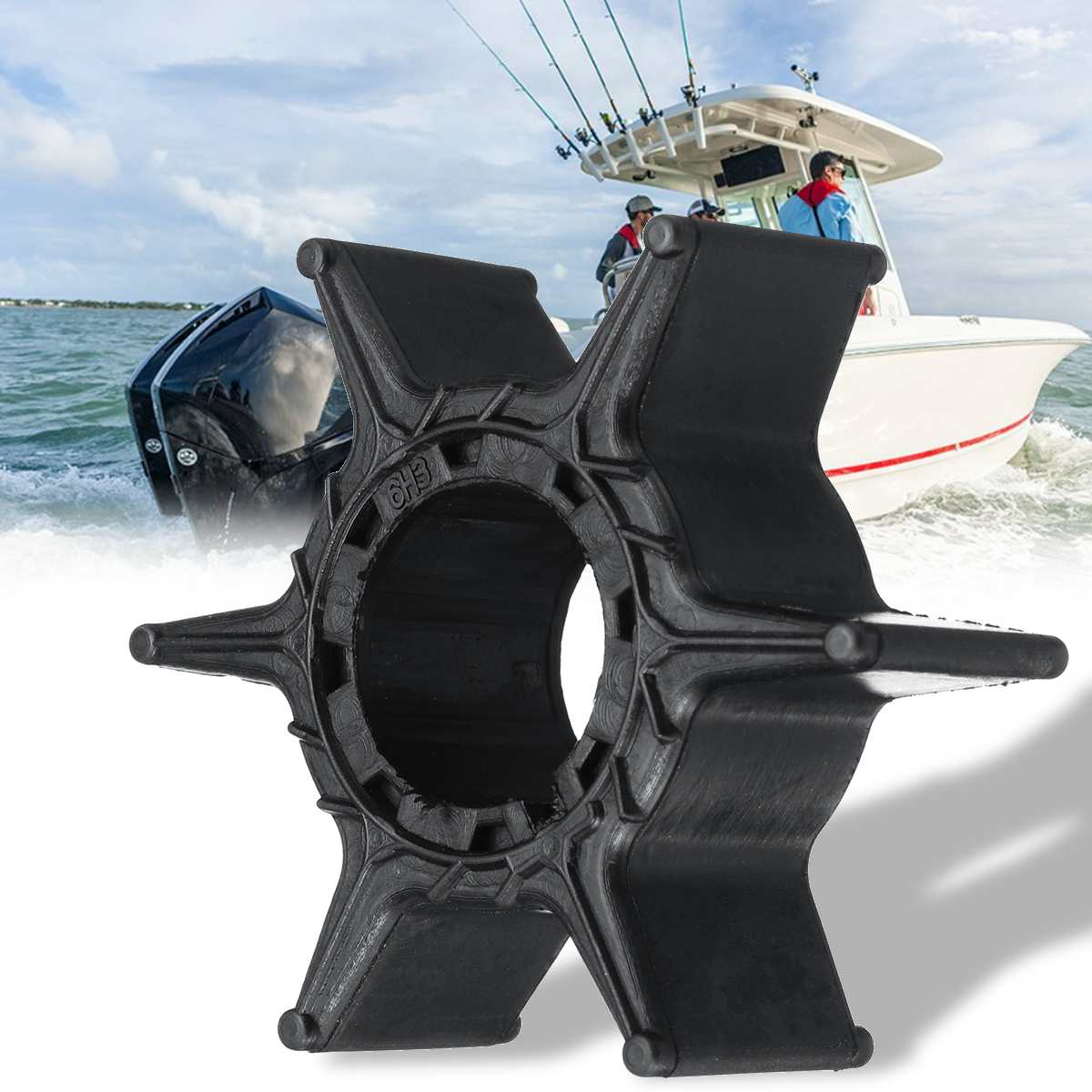 6H3-44352-00 Replacement Water Pump Impeller For Yamaha 40-60HP Outboard Motor Diameter 52mm Accessories 6 Blades Black Rubber