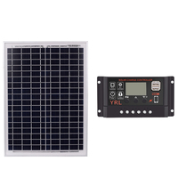 Black 18V20W Solar Panels + 40/50/60A 12V/24V Solar Controller With Usb Interface Battery Travel Power Supply 60A