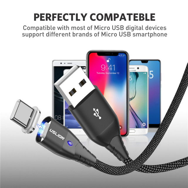 USLION Magnetic Fast Cable Micro USB Charging Phone Android Data Cable Wire Magnet Charger For Samsung Xiaomi Huawei Mobile 3A