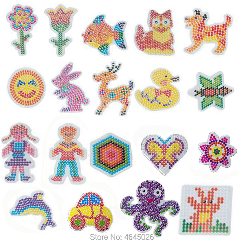 10pcs DIY Pegboards Perle Hama 5mm Perler Ironing Beads Peg Boards Animal Pattern Girls Gift Kids Educational Toys For Children
