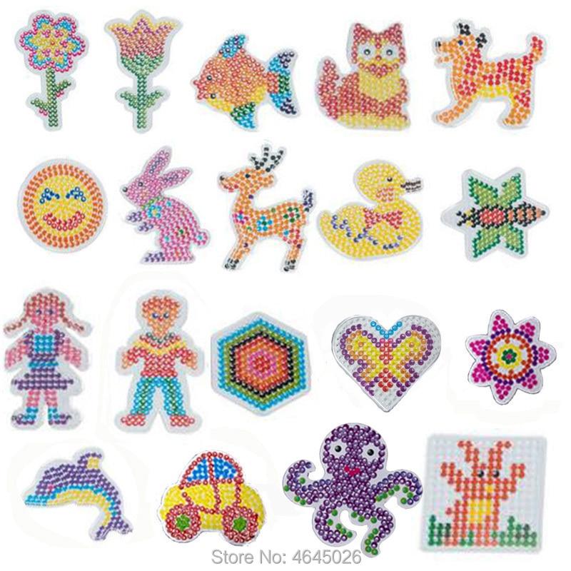 10pcs DIY Pegboards Perle Hama 5mm Perler Ironing Beads Peg Boards Animal Pattern Girls Gift Kids Educational Toys For Children