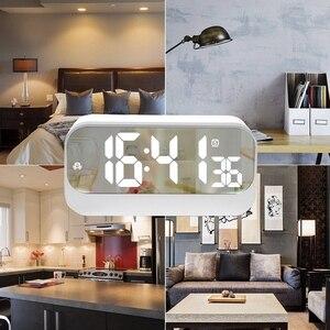 Image 2 - Réveil numérique Led, horloge Led avec Surface miroir réglage de lalarme luminosité réglable affichage des secondes, alarme de chevet