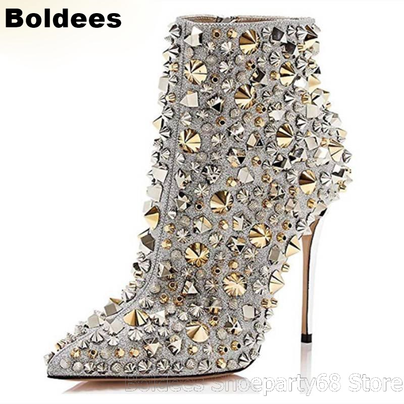 Sexy Stiletto Heeled Pointed Toe Luxury Crystal Rivets Woman Ankle Boots Ladies High Heels Winter Booties