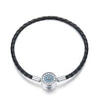Authentic 925 Sterling Silver Blue Eyes Leather Bracelets for Women Bracelets Bangles Sterling Silver Jewelry SCB113 BAMOER