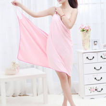 Spa Wrap Wearable Bath Microfiber Towel Fast Dry Robe Ladies Women Bathrobe Solid Soft Home Wear(China)
