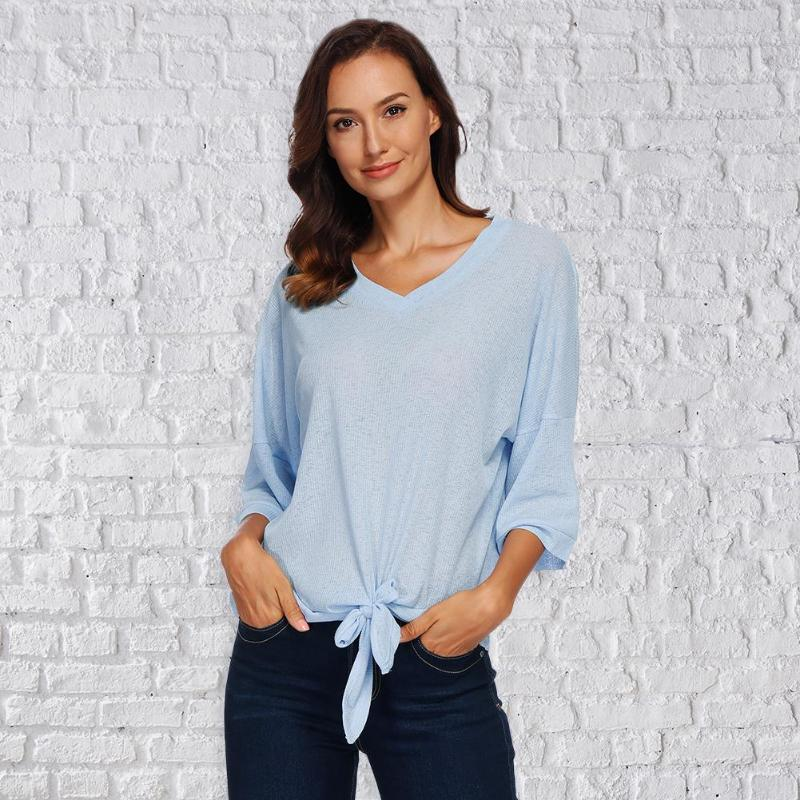 Fashion Women V Neck T-Shirt Elegant Ladies Solid Color Bandage Loose Knitted Tops Casual Flare Sleeve Women Knitted Sweater