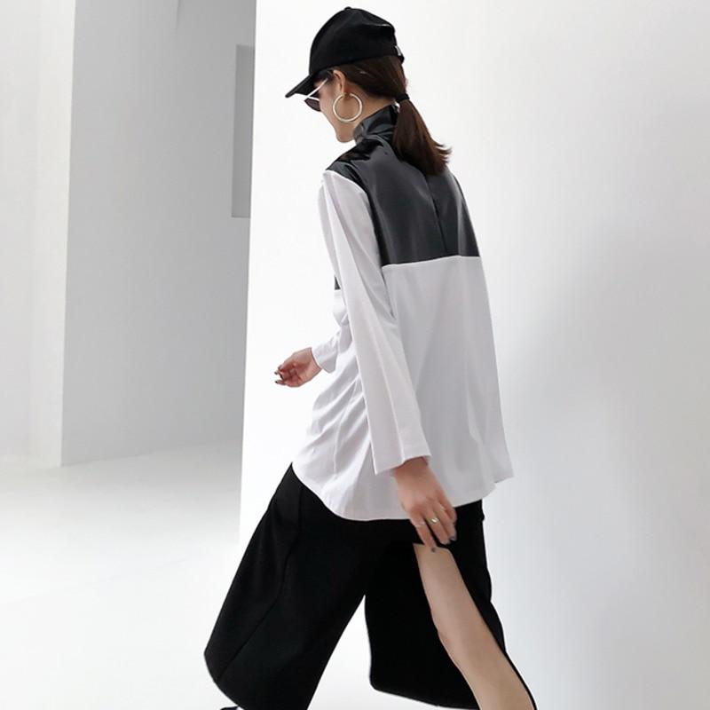 Printemps 2019 nouveau Patten demi col roulé à manches longues pu-patchwork Zipper coton Streetwear T-shirt femmes femme E933 - 4