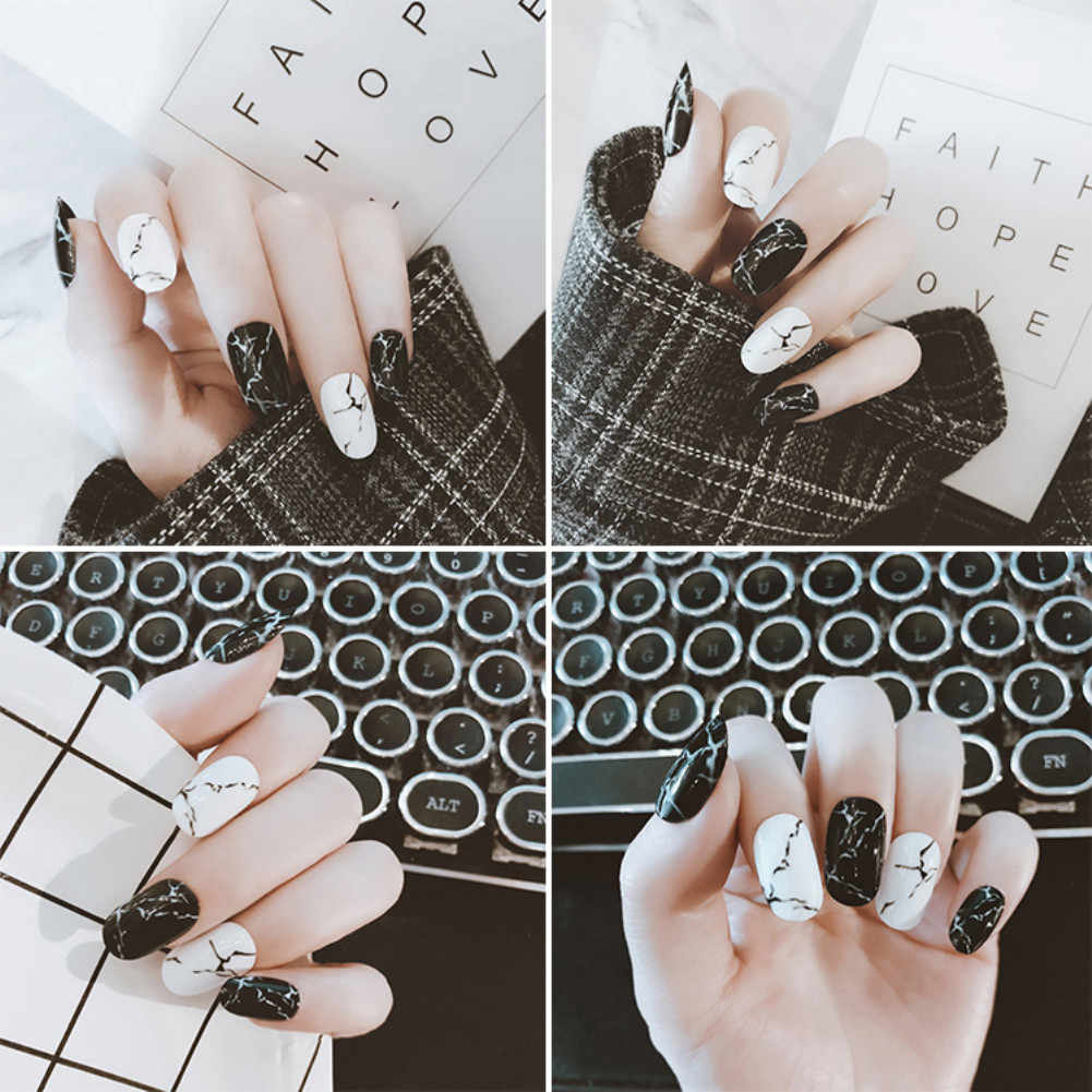 ELECOOL 24pcs UV Fake Nails Finished Marble Black  Full Coverage Long Nail Tips Acrylic False Nail Patch Faux Ongles Design