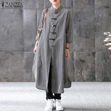 2019 Women Maxi Long Dress ZANZEA Mandarin Collar Long Sleeve Vestido Casual Buttons Kaftan Robe Femme Plus Size Ladies Dresses цены