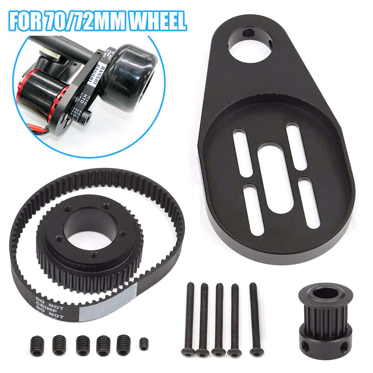 DIY Parts Pulley + Motor Mount Drive Kit For 72MM/70MM Wheel Electric Skateboard Home DIY Kit