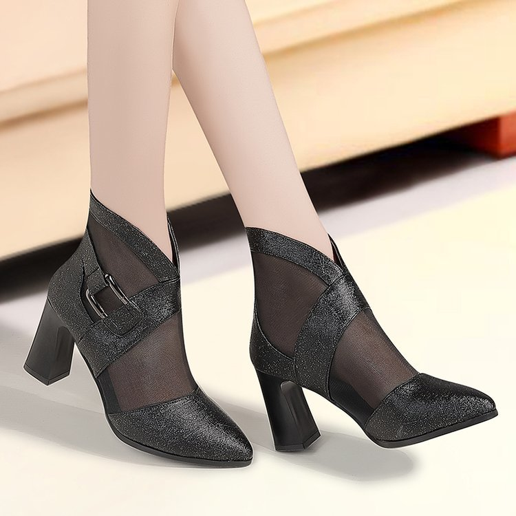 New girl/'s formal dress wedding open toe shoes buckle closure Black