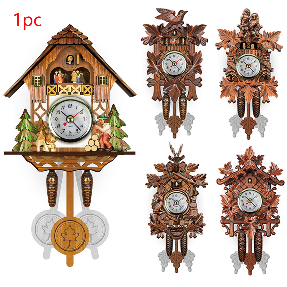 Wall-Clock Decorative Pendulum Cuckoo Bird Wood Living-Room Vintage Home Hanging-115x225x50mm