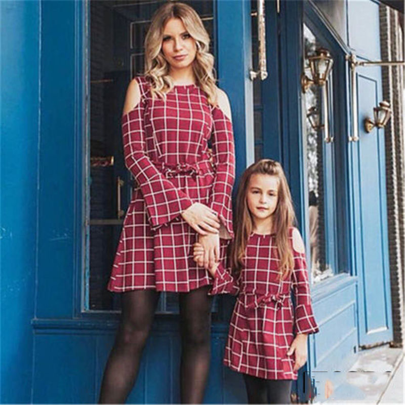 Purposeful Emmababy Newly Arrival Family Mother And Daughter Matching Dresses Fashion Women Girls Red Plaid Long Dress Dropship Mother & Kids