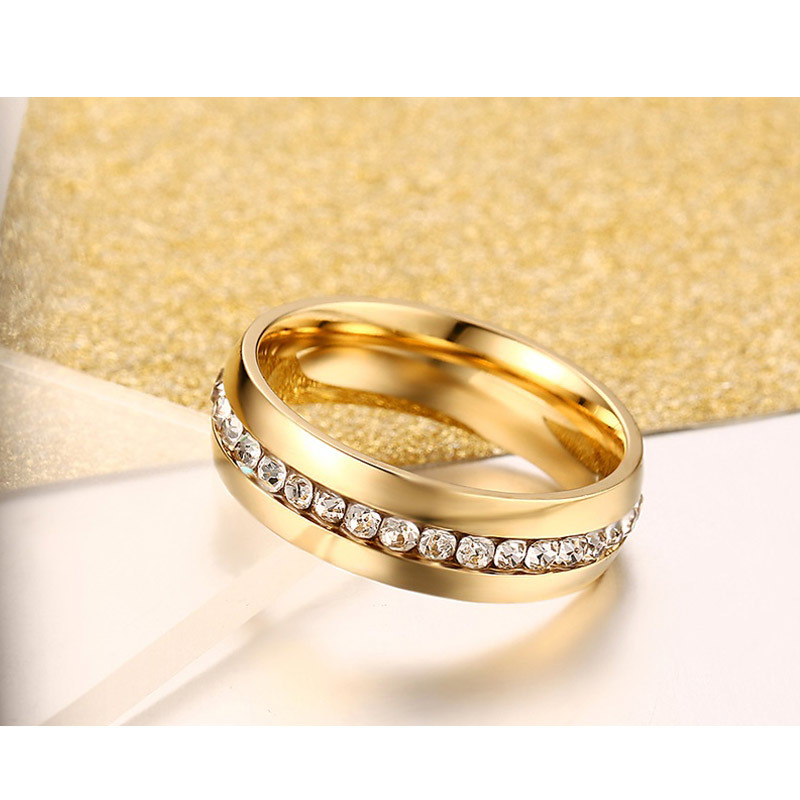 Vnox Wedding-Ring Finger-Jewelry Engagement Stainless-Steel Female Gold-Color Women Crystal