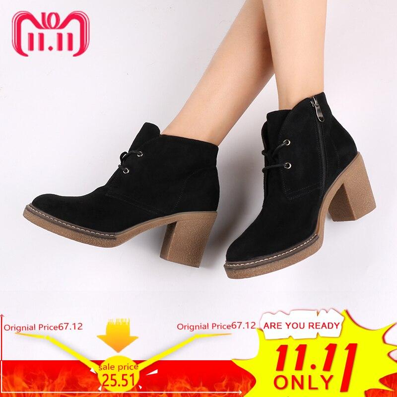 c7d86445ecd39 AIMEIGAO botas de tobillo de tacón grueso para mujer zapatos de gamuza de  piel con cordones botas de piel tacones de plataforma zapatos de mujer de  felpa ...