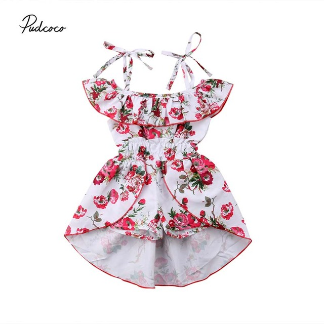 fb236b01d46e Pudcoco Boho Dress Toddler Kids Baby Girls 2018 New Summer Off Shoulder  Floral Dresses Jumpsuits Playsuit Shorts Ruffle Holiday