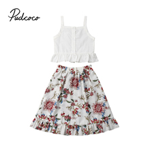 Flower Baby Girls summer clothes set Outfits Vest T Shirt Tops Long Floral Skirt for Children Cloth Kid Toddler Clothing цена 2017