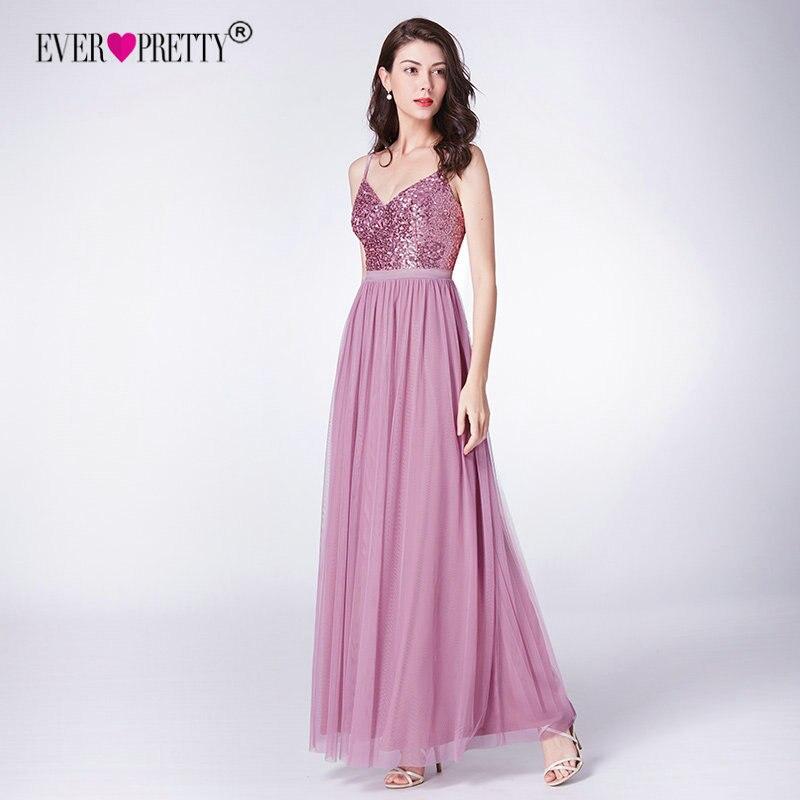 Sparkle   Bridesmaids     Dresses   Long Ever Pretty A-Line V-Neck Spaghetti Straps Elegant Wedding Party Gowns 2019 Vestido Madrinha