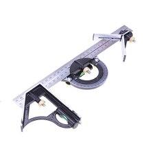 Transferidor quadrado ajustável 3 em 1, régua de medição multicombinação 300mm/12 polegadas ferramentas régua universal
