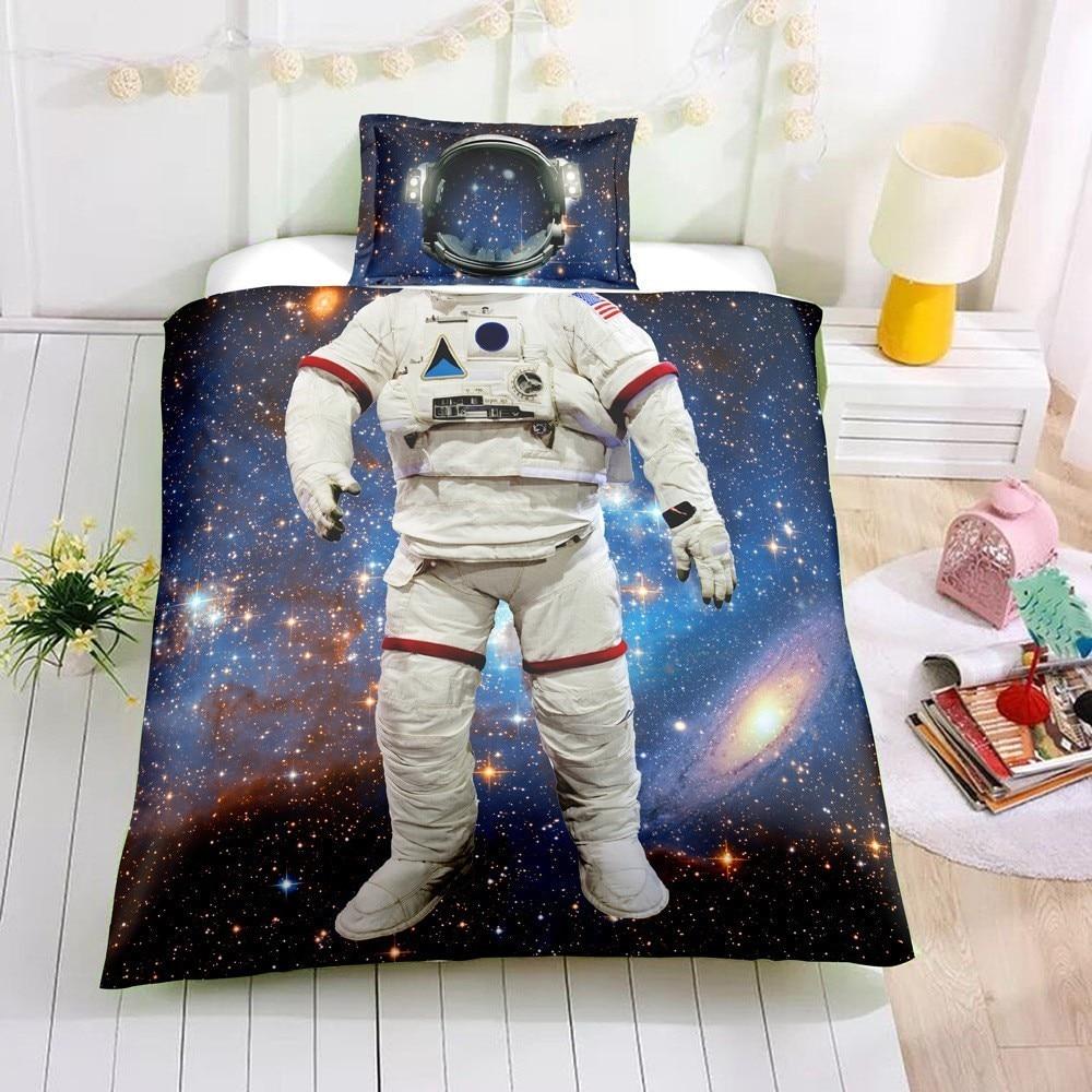 New Healthy Astronaut Design Child Bedding Duvet Cover Pillowcase Sheet Bedding Set 4pcs Kid Bedding Children\x27s Bed Set