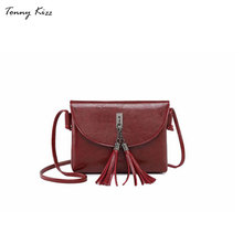 цены Fashion crossbody bags for women leather handbags lady small shoulder bags female messenger bags tassel wine red bolsa feminina