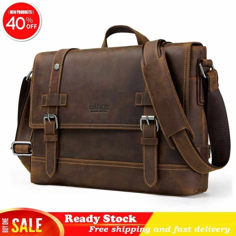 Genuine messenger bag men Leather high quality Man Portable Business Affairs Briefcase Crazy Horse Oblique Satchel Luxury brand