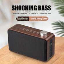 New Portable Wooden Home Wireless Bluetooth Speaker Metal Knob Touch Fabric Computer Card Audio Soundbar